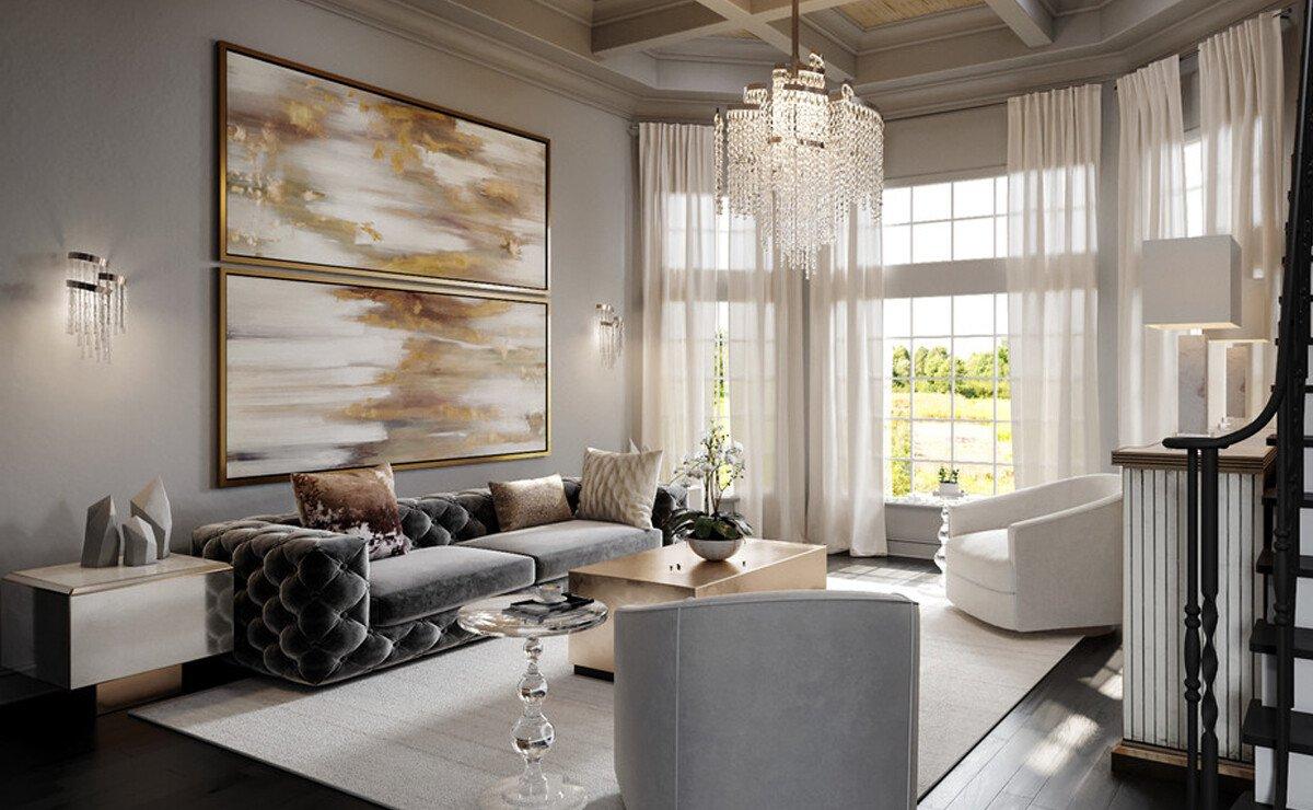 Glam & Elegant Home Interior Design Rendering