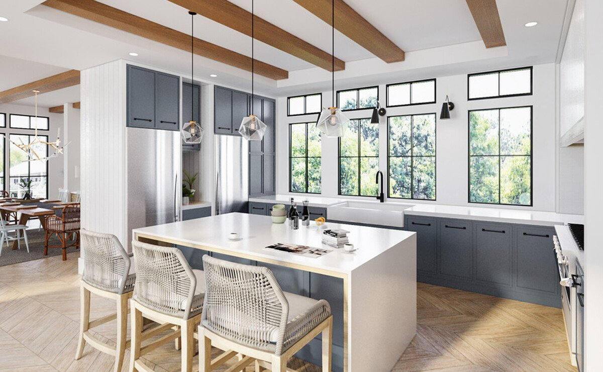 Blue & White Kitchen & Rustic Home Design Rendering