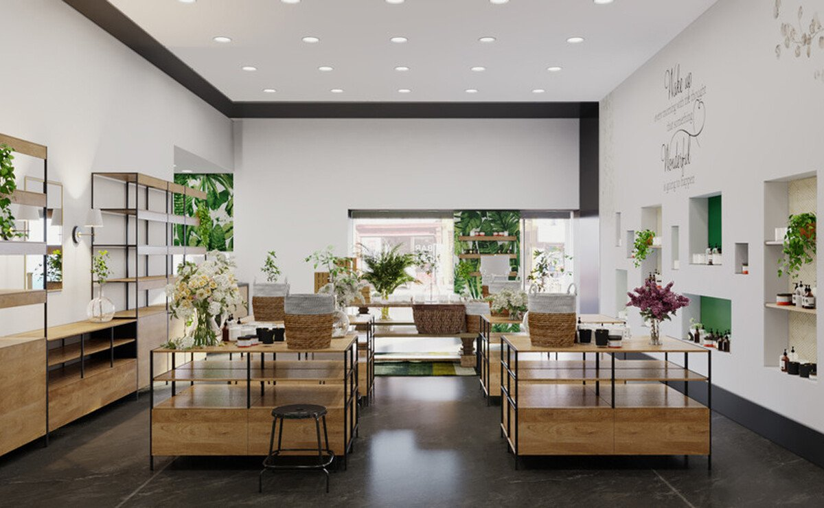 Natural Eclectic Cosmetic Store Interior Rendering