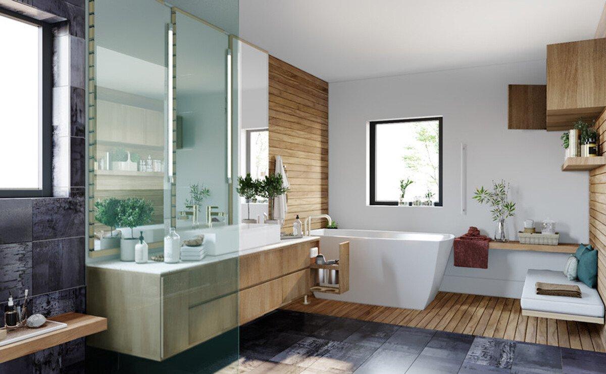 Spa-Inspired Master Bathroom Design Rendering
