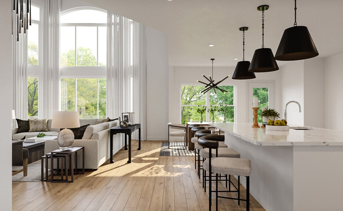 Black and White Living and Dining Room Design Rendering