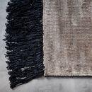 Online Designer Combined Living/Dining Contrast Fringe Rug - Taupe