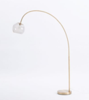 Online Designer Combined Living/Dining Overarching Acrylic Shade Floor Lamp - Antique Brass/Smoke