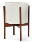Online Designer Living Room Modernica Case Study Ceramic Cylinder Planter With Wood Stand