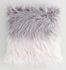 Online Designer Bedroom Gray Ombre Mongolian Faux Fur Throw Pillow