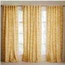 Online Designer Living Room Mid-Century Cotton Canvas Etched Grid Curtains (Set of 2) - Horseradish
