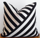 Online Designer Bedroom Decorative Pillow  Velvet Stripe Black Ebony by kassapanola