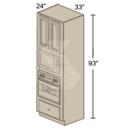 Online Designer Kitchen SOM3393 - Shaker II Maple Bright White Single Oven-Microwave Cabinet (2 Butt Door, 1 Drawer)