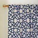 Online Designer Combined Living/Dining Star Flocked Curtain - Regal Blue
