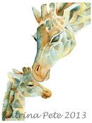 Online Designer Kids Room Giraffe Mom and baby nursery PRINT