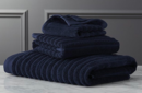 Online Designer Bathroom channel cotton navy bath towels