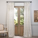Online Designer Living Room Half Price Drapes Illusions Silver Grey 96 x 50-Inch Printed Cotton Curtain Single Panel