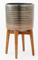 Online Designer Living Room Mid-Century Turned Wood Leg Planters - Patterned