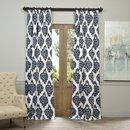 Online Designer Living Room EFF Ikat Blue Printed Cotton Curtain Panel