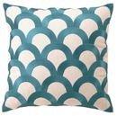 Online Designer Living Room Scales Teal Embroidered Linen Pillow