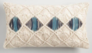 Online Designer Home/Small Office Beige And Blue Macrame Indoor Outdoor Lumbar Pillow