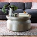 Online Designer Combined Living/Dining Hammered Metal Accordion Coffee Table