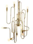 Online Designer Kitchen Stilnovo LS1143S Trombone 10 Light Chandelier in Gold