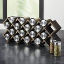 Online Designer Dining Room Grey Wash 18-Jar Spice Rack with Stainless Caps