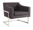 Online Designer Bedroom Oliver & James Hanne Grey Fabric and Chrome Accent Chair