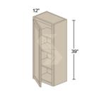 Online Designer Kitchen W1839 - Shaker II Maple Bright White Wall Cabinet (1 Door) - Deerfield Assembled Kitchen Cabinet