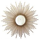 Online Designer Combined Living/Dining Spada Sunburst Antiqued Gold Metal Wall Mirror