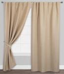 Online Designer Combined Living/Dining Natural Herringbone Jute Sleevetop Curtains, Set Of 2