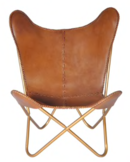 Online Designer Living Room Safari Chestnut Leather Butterfly Chair