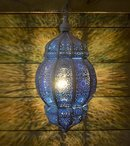 Online Designer Patio Rani Moroccan Lantern - White/Blue- Plug In Version