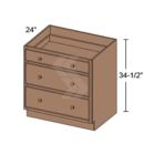 Online Designer Kitchen DB24-3 - Shaker II Maple Naval Drawer Base Cabinet (3 Drawer) - Deerfield Assembled Kitchen Cabinet