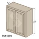 Online Designer Kitchen W3633 - Shaker II Maple Bright White Wall Cabinet (2 Butt Door)