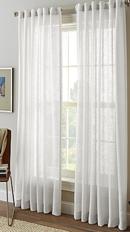 Online Designer Kitchen Shimmer Sheer 95-Inch Rod Pocket Window Curtain Panel in White