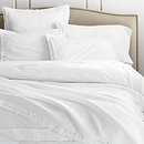 Online Designer Combined Living/Dining Washed Organic Cotton White Full/Queen Duvet Cover