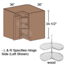 Online Designer Kitchen BER36-R-Wood - Shaker II Maple Naval Lazy Susan Corner Base Cabinet ( 2 Door)
