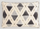 Online Designer Home/Small Office Black And Ivory Embroidered Diamond Lumbar Pillow