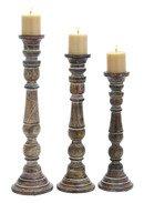 Online Designer Dining Room Lincoln 3 Piece Wood Candlestick Set