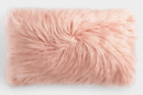 Online Designer Combined Living/Dining Oversized Blush Mongolian Faux Fur Lumbar Pillow