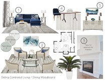 Contemporary Blue Accented Living/Dining  Lacie H. Moodboard 1 thumb