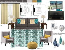 Contemporary pop living room Picharat A.  Moodboard 1 thumb