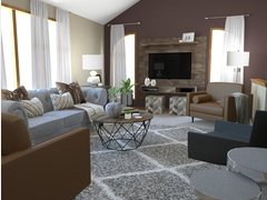 Transitional Living Room in Brown and Grey Rendering thumb