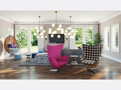 Bright Modern Living Room Rendering thumb