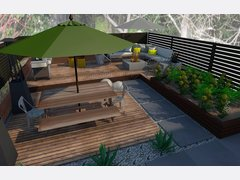 Contemporary Outdoor Dining And Lounge Design Rendering thumb