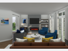 Eclectic with Blue Accents Living Room Rendering thumb