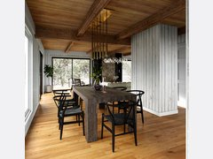 Modern Rustic Lakehouse Living and Dining Rendering thumb