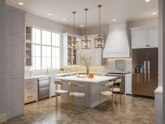 Elegant and Light Kitchen Design Rendering thumb