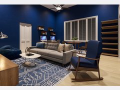 Living room and Play Room With Blue Accents Rendering thumb
