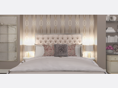 Elegant Gold Accented Bedroom Transformation Rendering thumb
