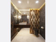 Luxury Grey Gold Stone Bathroom Decor Rendering thumb