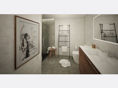 Contemporary Minimal Bathroom Rendering thumb