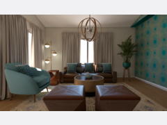 Transitional Living And Dining Room With Teal Accents Rendering thumb